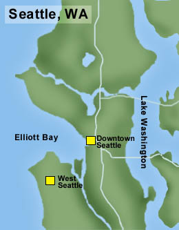 Map showing location of West Seattle Map by Chris Goodman, Courtesy HistoryLink